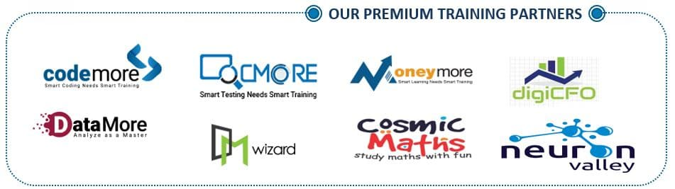 TrainOn Training Partners - Some of our premium training partners are Codemore, DataMore, QCMore, DM Wizard, Moneymore, Cosmic Maths, digiCFO, Neuron Valley
